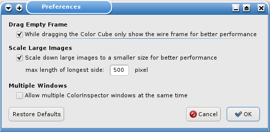 The Preferences Window for the Color Inspector 3D