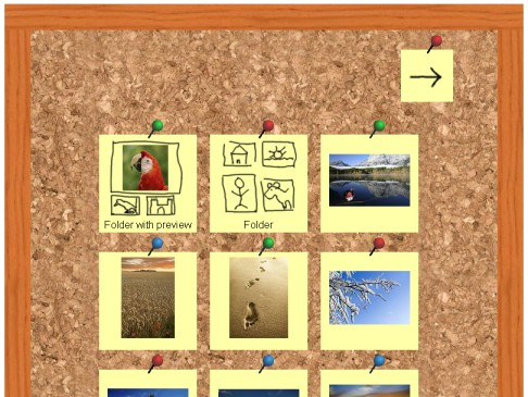 Screenshot of an album generated with the Pinboard-Skin